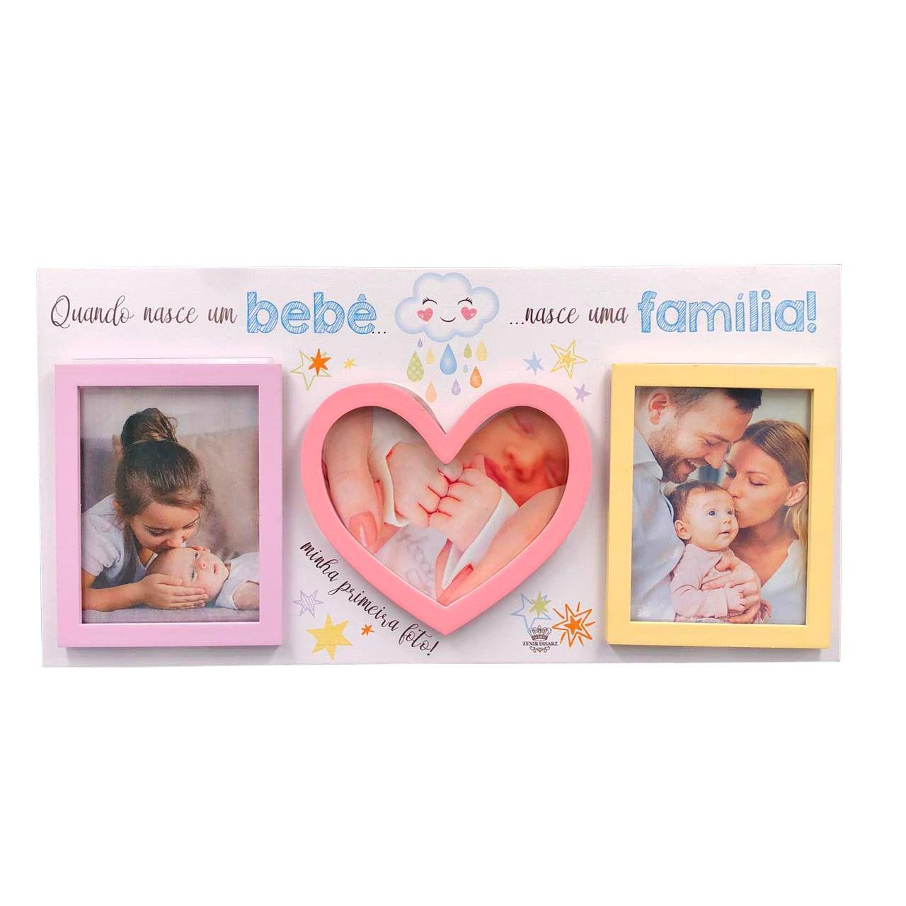Porta Retrato Quando Nasce Um Bebê Rosa