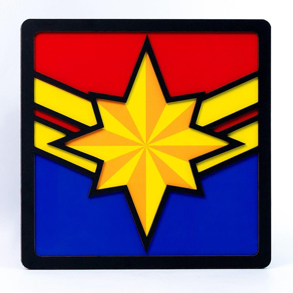 Quadro Herói 3D Capitã Marvel