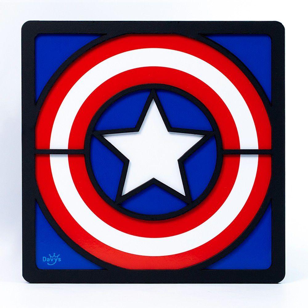 Quadro Herói 3D Capitão América