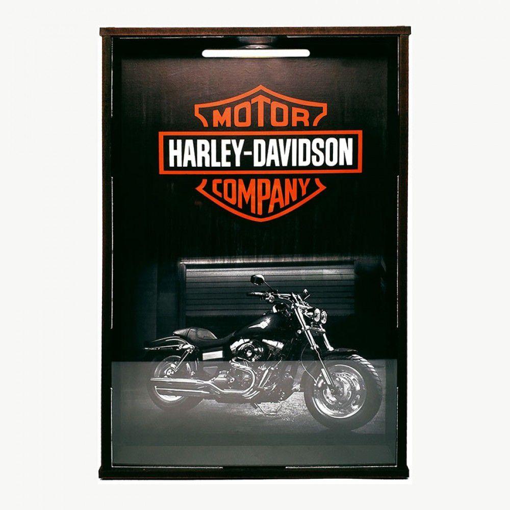 Quadro Porta Tampinhas Harley Davidson