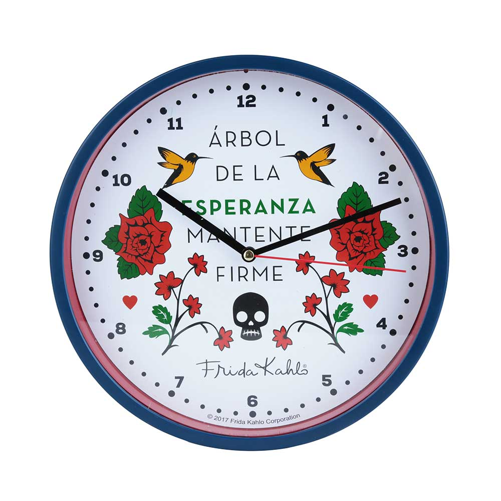 Relógio de Parede Plástico - Frida Kahlo Esperanza | Azul e Branco