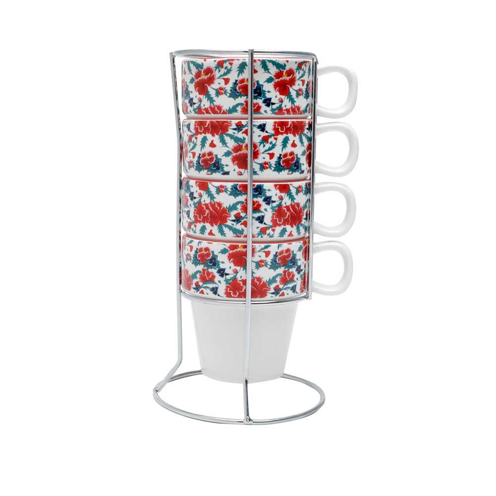 Set com 4 Xícaras de Porcelana p/Cappuccino - Frida Kahlo | Floral Branco - 225ml