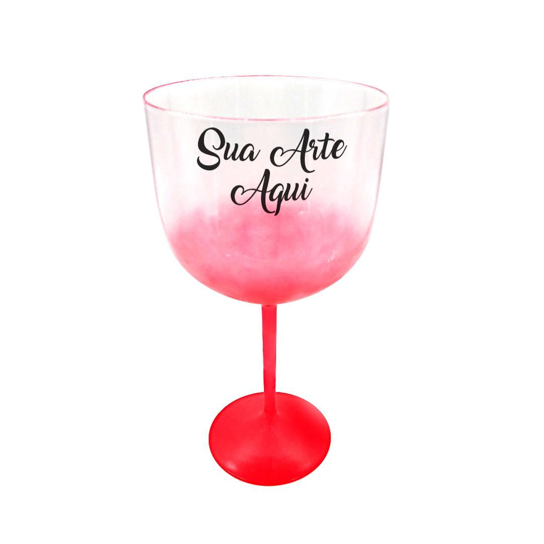 Taça Gin - Vermelha Degradê Cristal Personalizada