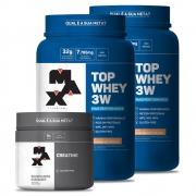 Kit 2 Top whey 3W de (900gr) + Creatina de 300 gr Max Titanium