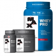 Whey PRO 1kg + Creatina 100g + BCAA 60 Caps (MAX TITANIUM)