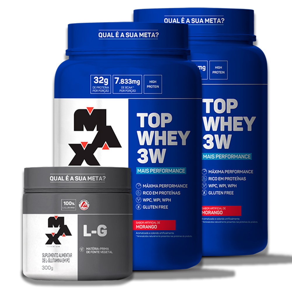 Kit 2 Top Whey 3W  (900gr) + L-Glutamina  300gr
