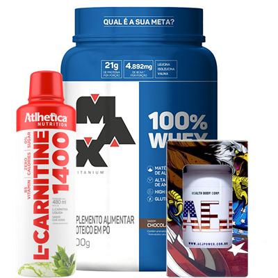 Kit Emagrecimento  AEJ POWER - L-carnitina - Whey 100% MAX TITANIUM