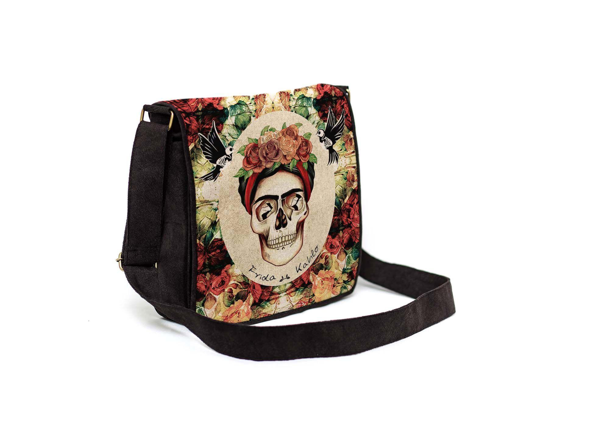 Bolsa Capanga Com Tampa Frida Caveira