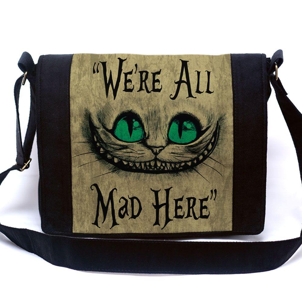 Bolsa Mensageiro Gato de Cheshire / Risonho / Alice