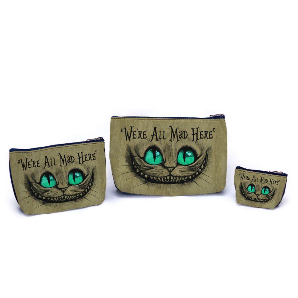 Kit de necessaires Gato de Cheshire / Gato Alice / Gato Risonho