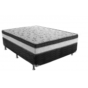 CAMA BOX CORINO PRETO + COLCHÃO PHYSICAL SUPERPOCKET ORTOBOM