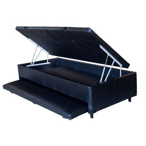 CAMA BOX COM BAÚ E BI-CAMA 3 EM 1 CORINO PRETO SOLTEIRO (88x188x30cm)