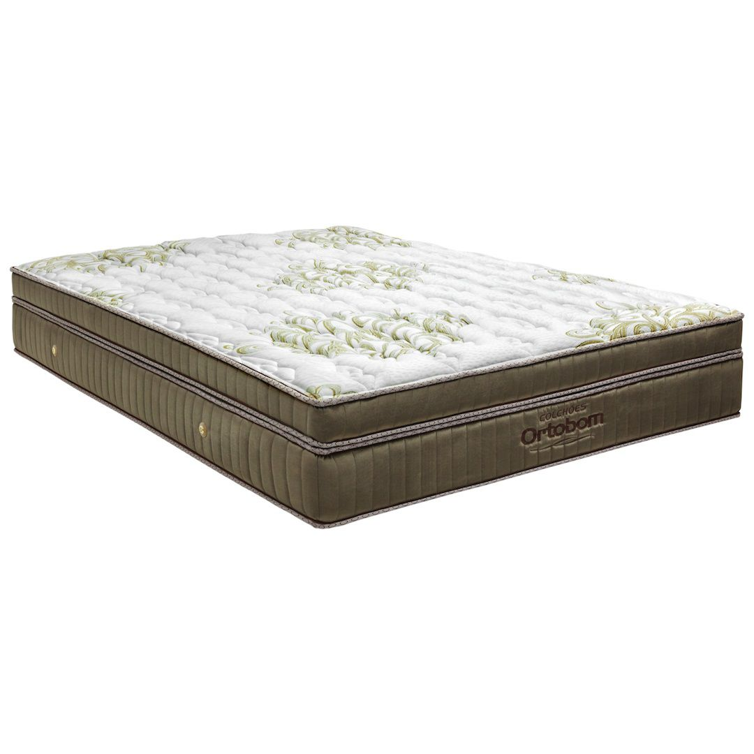 CAMA BOX UNIVERSAL BIPARTIDO CORINO MARROM SUPER KING + COLCHÃO ORTOBOM GOLD ULTRAGEL SUPER KING (193x203x32cm)