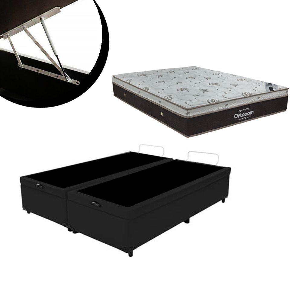 CAMA BOX UNIVERSAL COM BAU BIPARTIDO CORINO PRETO + COLCHÃO ORTOBOM SLEEP KING QUEEN (158x198x32)