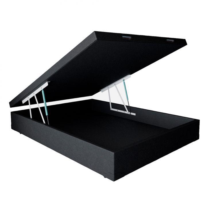 CAMA BOX COM BAÚ CORINO PRETO CASAL (138x188x30cm)