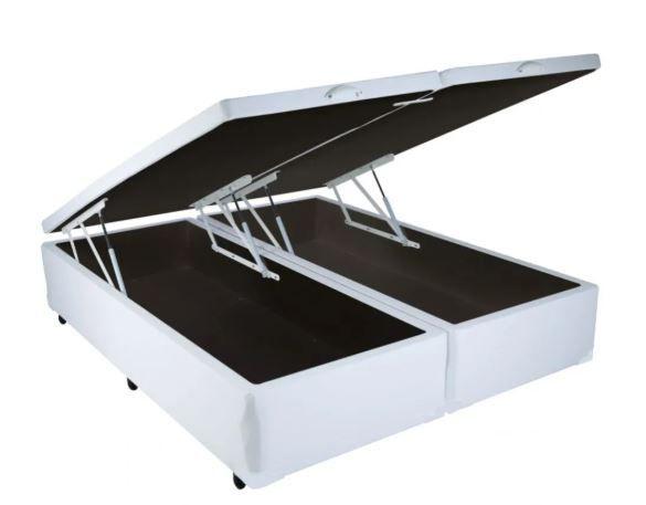 CAMA BOX COM BAÚ CORINO BRANCO KING (193x203x30cm)