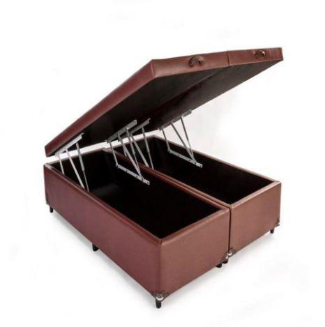CAMA BOX COM BAÚ CORINO MARROM KING (193x203x30cm)