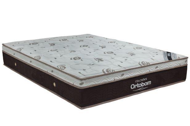 CAMA BOX UNIVERSAL CORINO PRETO  + COLCHÃO ORTOBOM SLEEP KING CASAL (138x188x32cm)