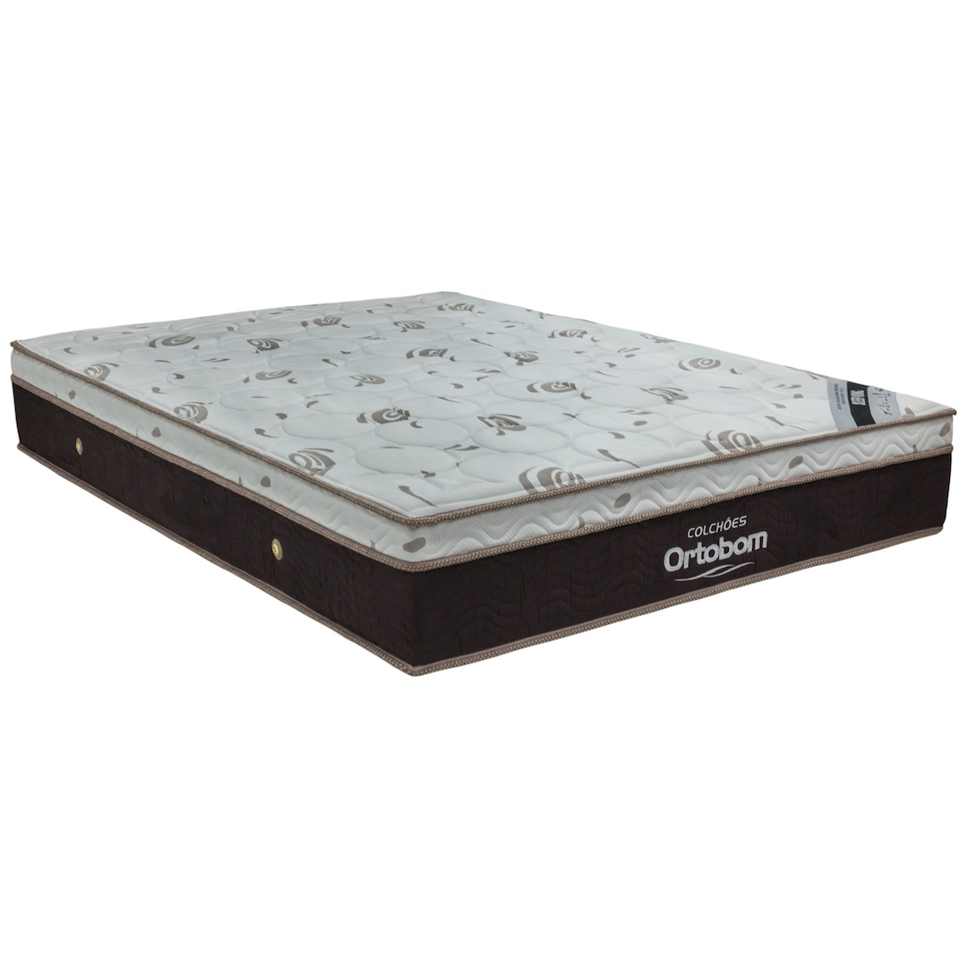 CAMA BOX CORINO PRETO + COLCHÃO SLEEP ORTOBOM