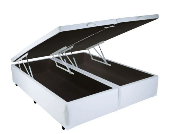 CAMA BOX COM BAÚ CORINO BRANCO QUEEN (158x198x30cm)
