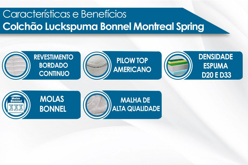 COLCHÃO MONTREAL BONNEL PILLOW TOP ONE SIDE LUCKSPUMA