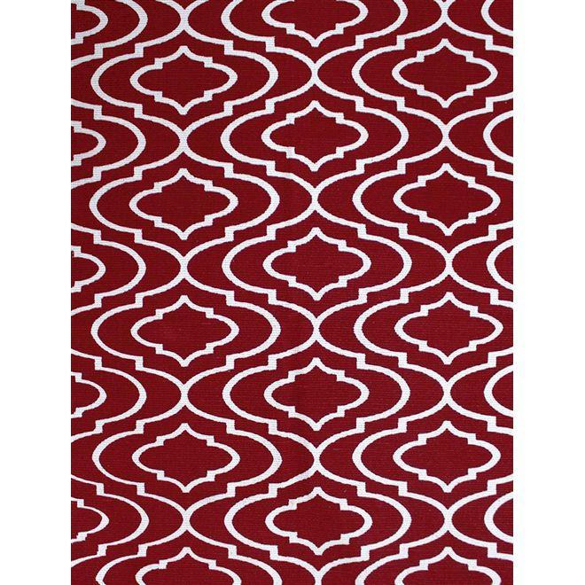 Tapete Geométrico Vermelho E Branco Adira - 1,00X1,40m