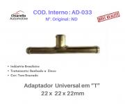 """Adaptador universal em """"T"""" para mangueira  22 x 22 x 22mm"""