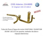 Tubo da água motor SANTANA / QUANTUM c/ar quente, radiador de óleo e Injeção Eletrônica