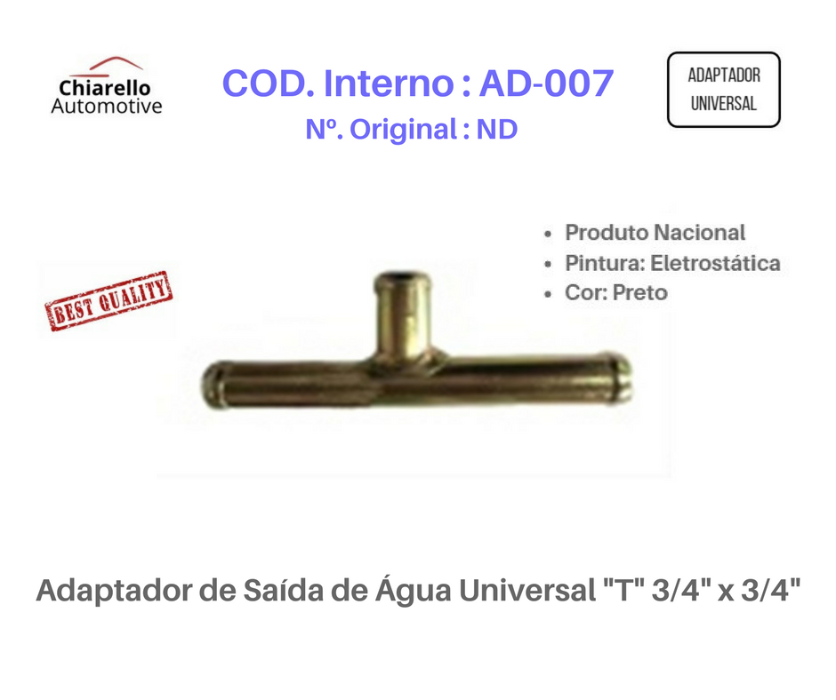 "Adaptador de Saída de Água Universal ""T"" 3/4"" x 3/4""  - Chiarello Automotive"