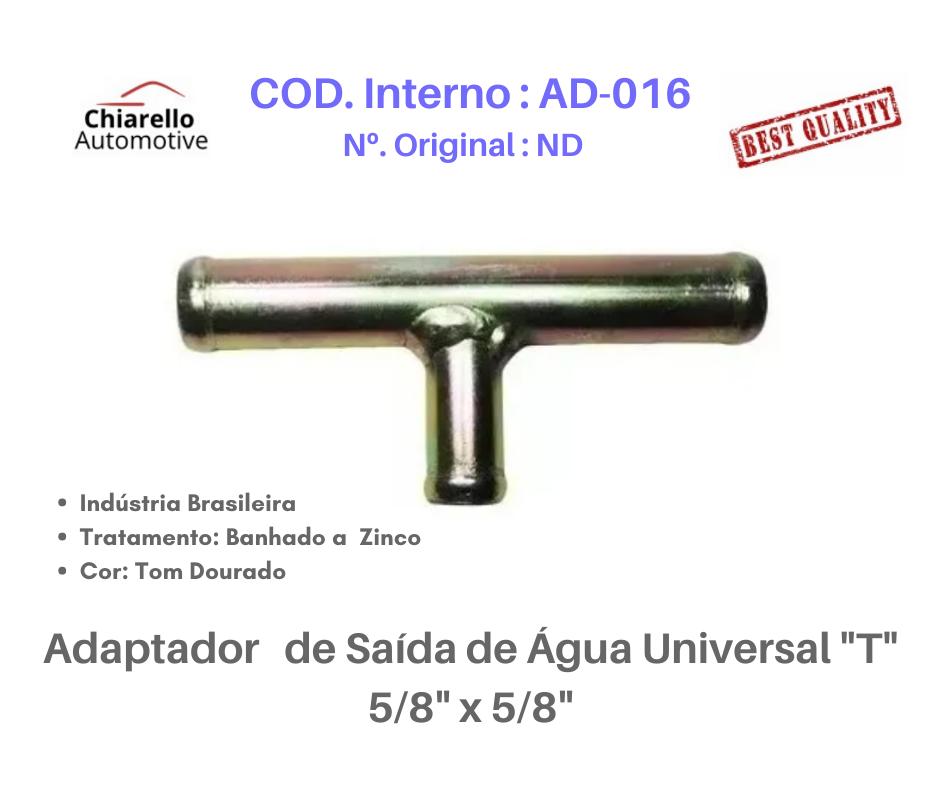 "Adaptador de Saída de Água Universal ""T"" 5/8"" x 5/8""  - Chiarello Automotive"