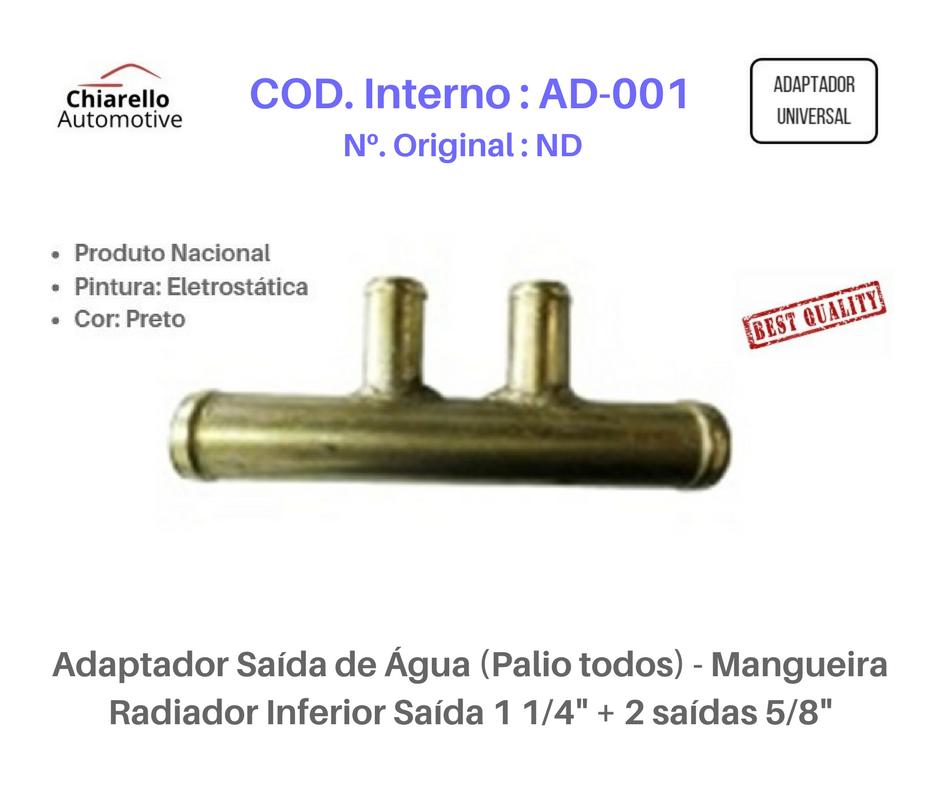 """Adaptador Saída de Água (Palio todos) - Mangueira Radiador Inferior Saída 1 1/4"""" + 2 saídas 5/8""""  - Chiarello Automotive"""
