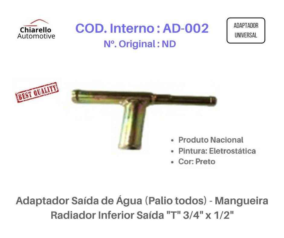 """Adaptador Saída de Água (Palio todos) - Mangueira Radiador Inferior Saída """"T"""" 3/4"""" x 1/2""""  - Chiarello Automotive"""