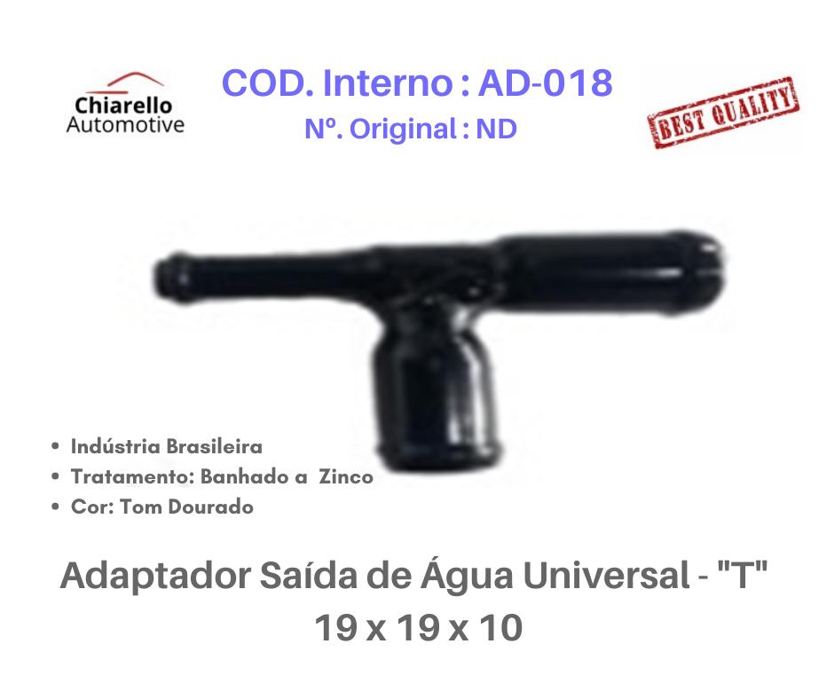 "Adaptador Saída de Água Universal - ""T"" 19 x 19 x 10  - Chiarello Automotive"