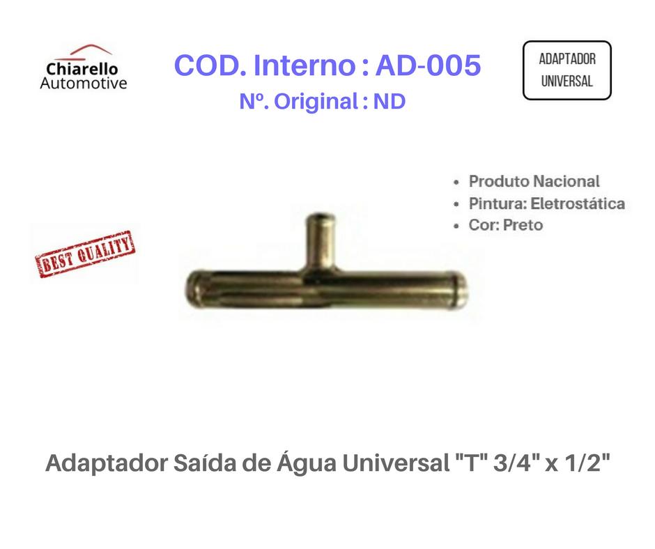 "Adaptador Saída de Água Universal ""T"" 3/4"" x 1/2""  - Chiarello Automotive"