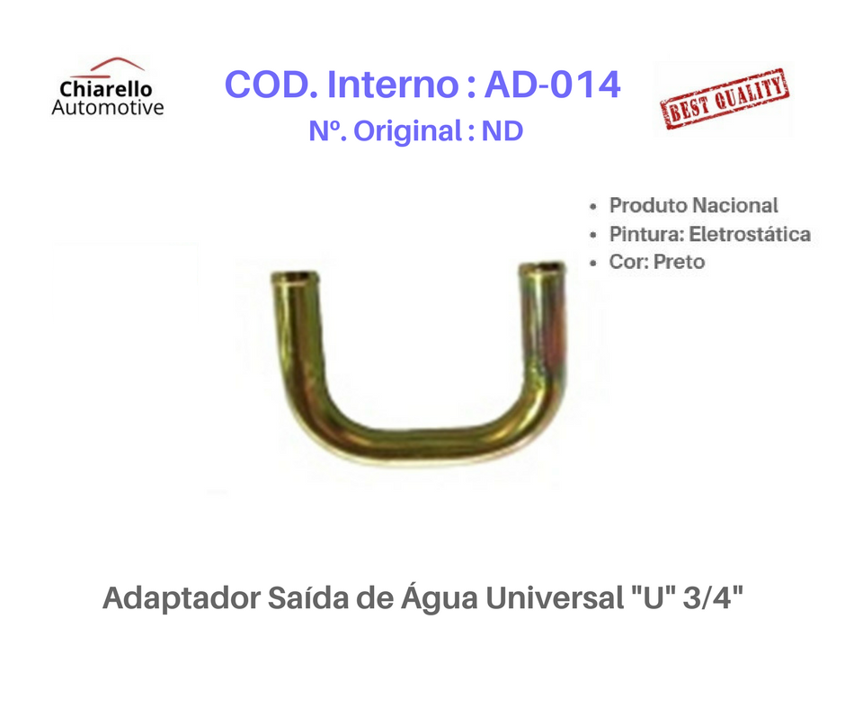 "Adaptador Saída de Água Universal ""U"" 3/4""  - Chiarello Automotive"