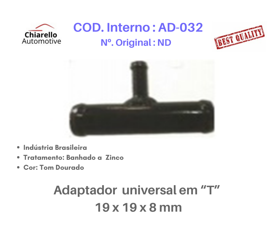 """Adaptador universal em """"T"""" para mangueira 19 x 19 x 8 mm  - Chiarello Automotive"""