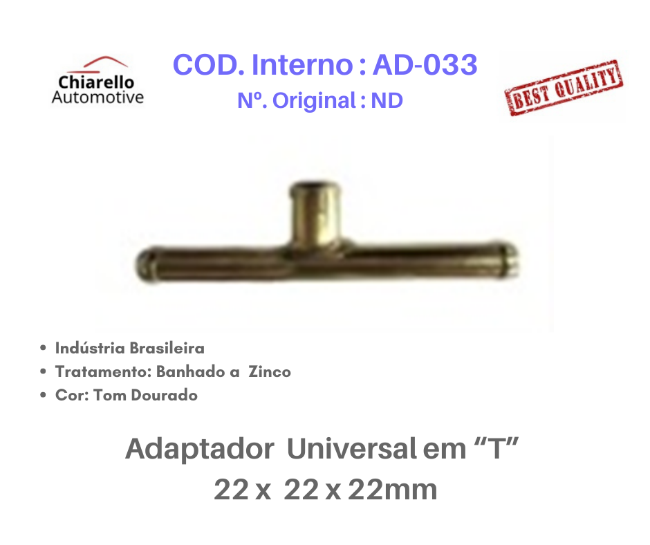 """Adaptador universal em """"T"""" para mangueira  22 x 22 x 22mm  - Chiarello Automotive"""
