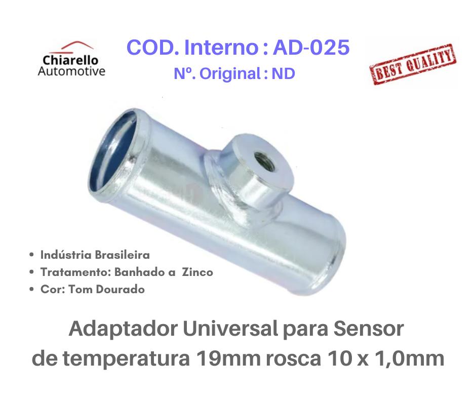 Adaptador universal para sensor de temperatura 19mm rosca 10 x 1,0mm  - Chiarello Automotive