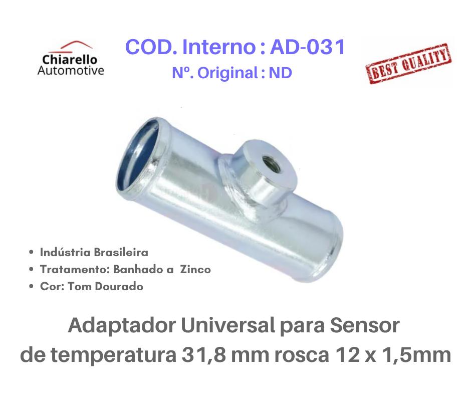 Adaptador universal para sensor de temperatura 31,8 mm rosca 12 x 1,5mm  - Chiarello Automotive