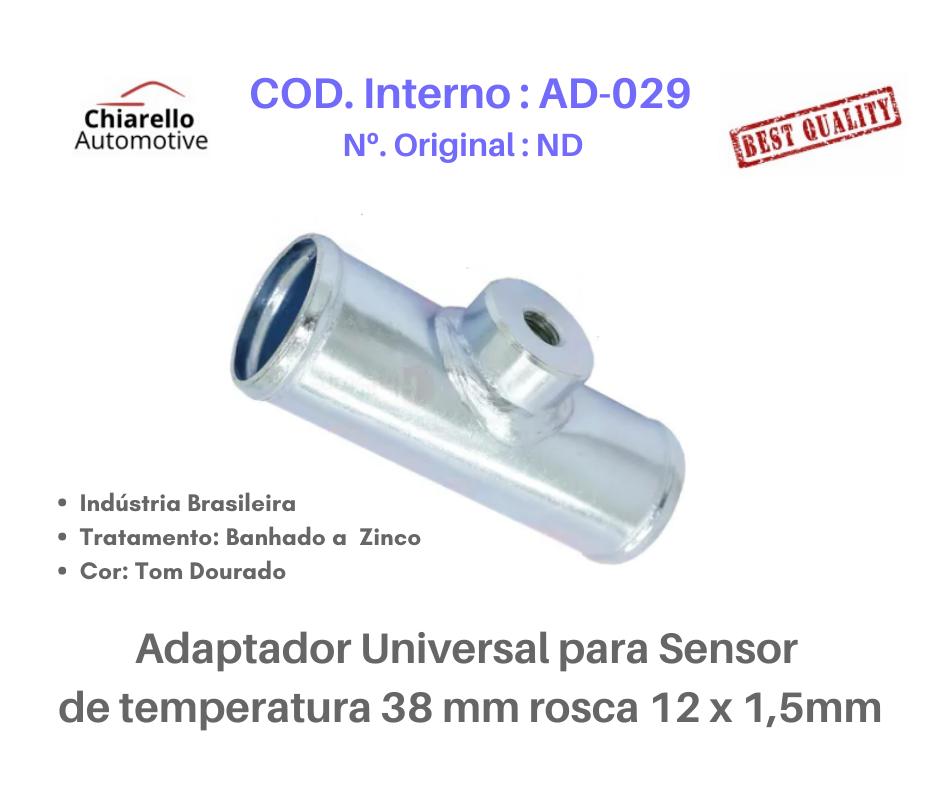 Adaptador universal para sensor de temperatura 38 mm rosca 12 x 1,5mm  - Chiarello Automotive