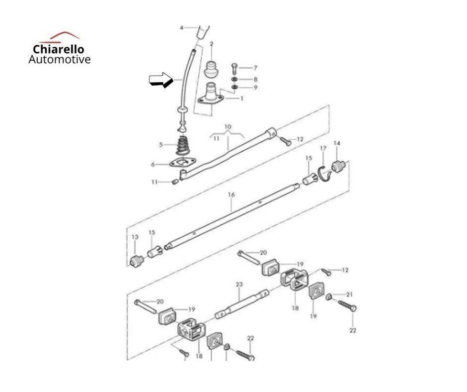 Alavanca Fusca Tamanho Curta Medida 19cm  - Chiarello Automotive