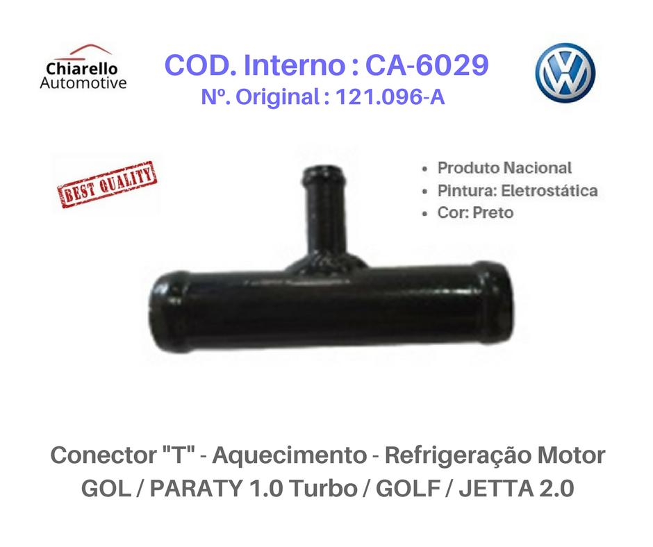 Conector T - Aquecimento Refrigeração Motor GOL /PARATI 1.0 Turbo /GOLF /JETTA 2.0  - Chiarello Automotive