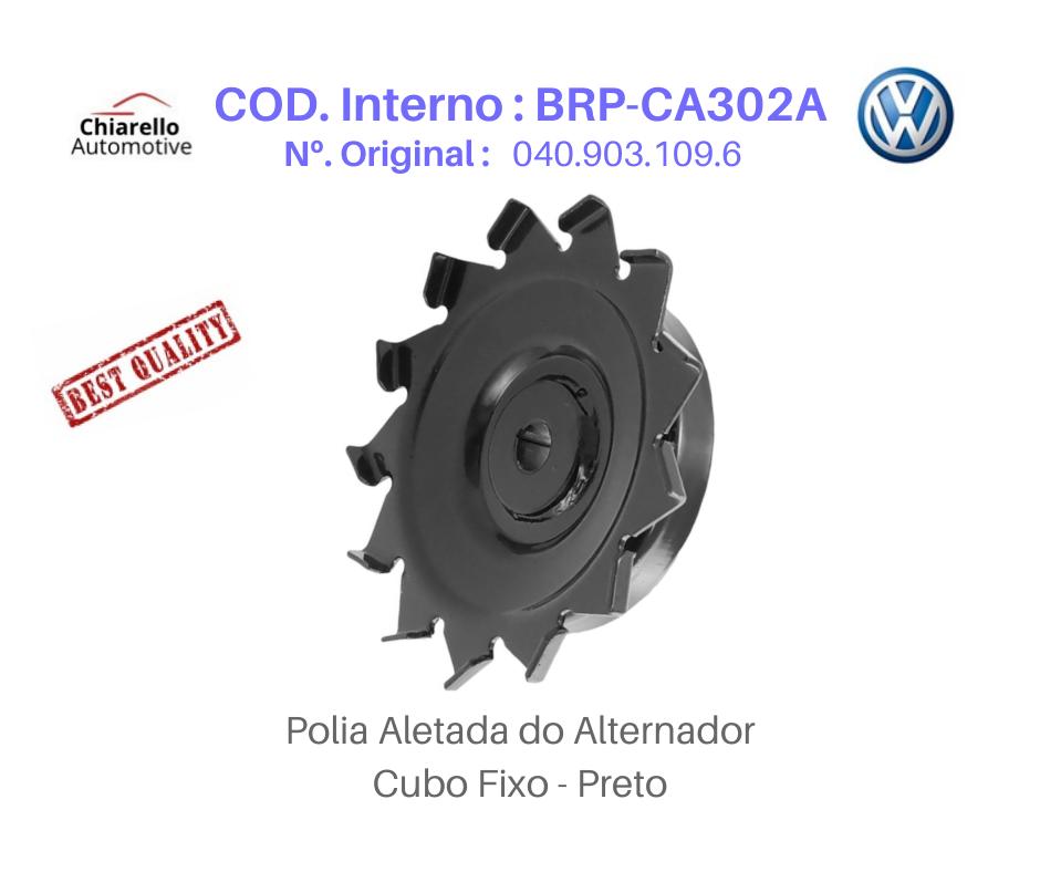 Polia Aletada do Alternador Kombi Fusca Brasília I Cubo Fixo - Preto   - Chiarello Automotive
