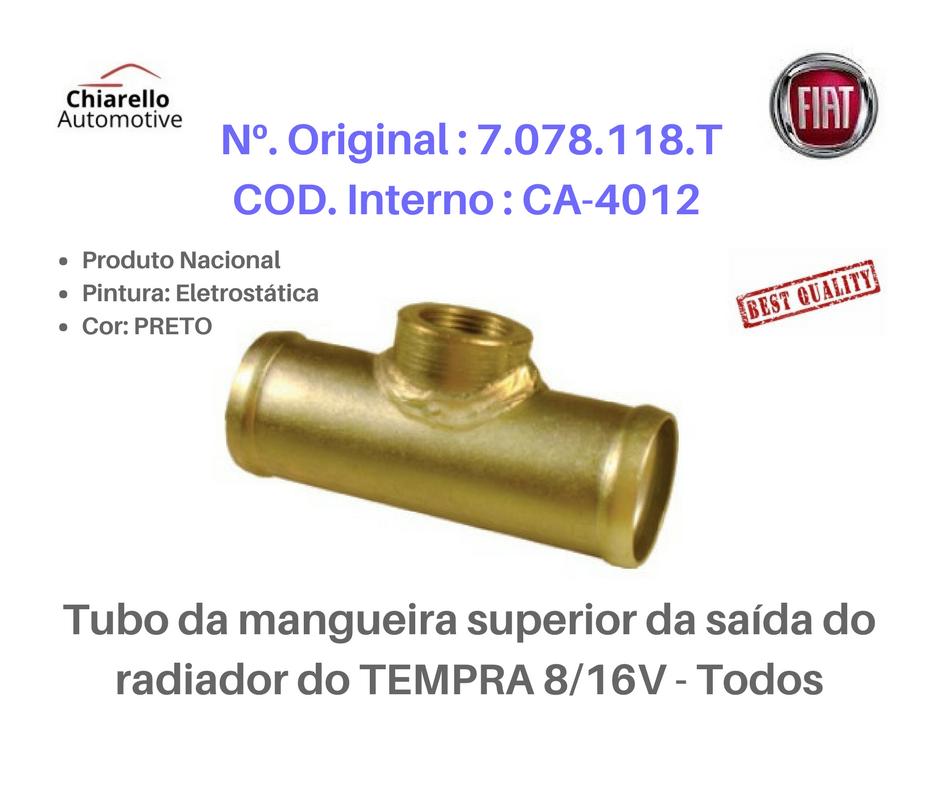 Tubo da mangueira superior da saída do radiador do TEMPRA 8/16V - Todos  - Chiarello Automotive