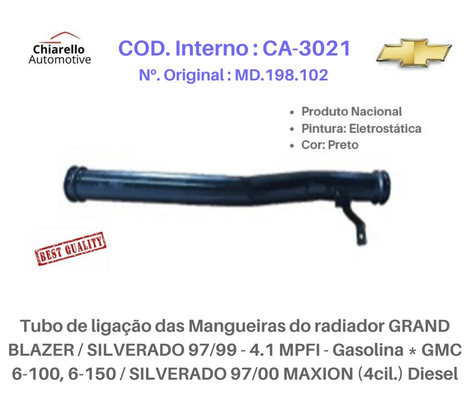 Tubo do Fluxo da água Chrysler GRAN CARAVAN - Novo STRATUS motor 2.5 V6 1996 a 2000  - Chiarello Automotive