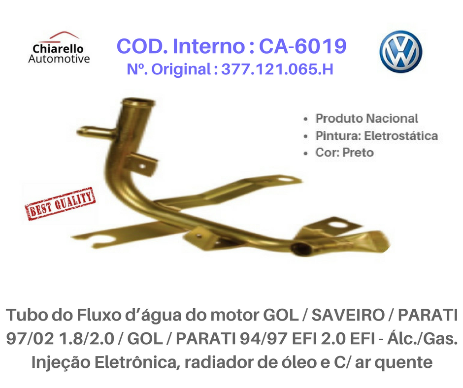 Tubo da água motor AE GOL /SAVEIRO /VOYAGE /PARATI 1.6 CHT Álc. Todos C/Ar Quente  - Chiarello Automotive