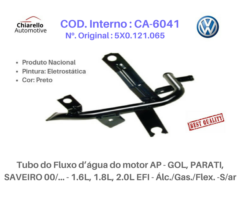 Tubo da água motor AP - GOL, /PARATI /SAVEIRO 1.6L, 1.8L, 2.0L EFI - Álc./Gas./Flex. -S/ar  - Chiarello Automotive