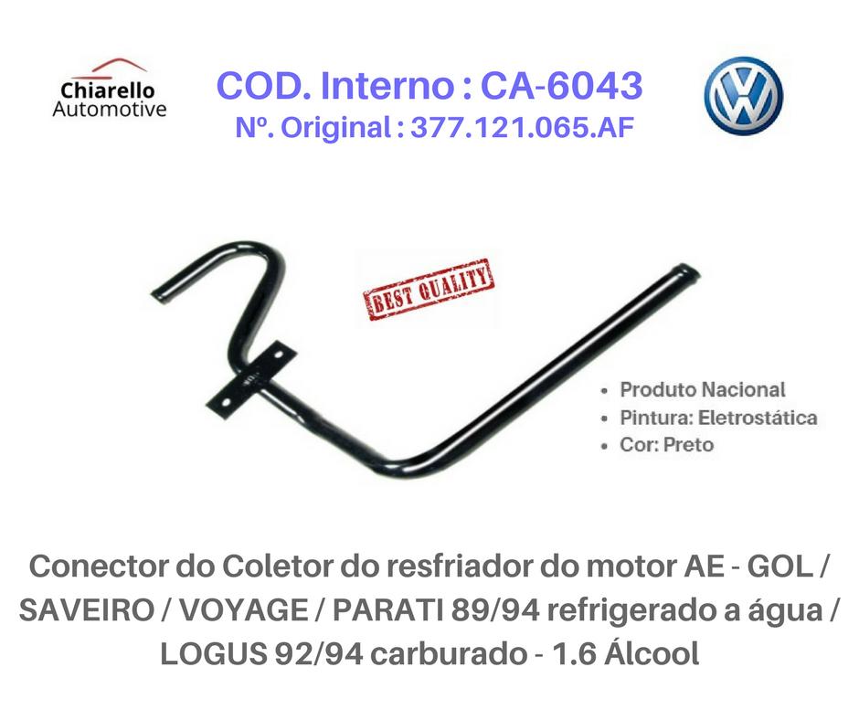 Tubo da água motor AP - GOL PARATI SAVEIRO - 1.6L, 1.8L 2.0L EFI 8V - Álc./Gas. - C/ar  - Chiarello Automotive