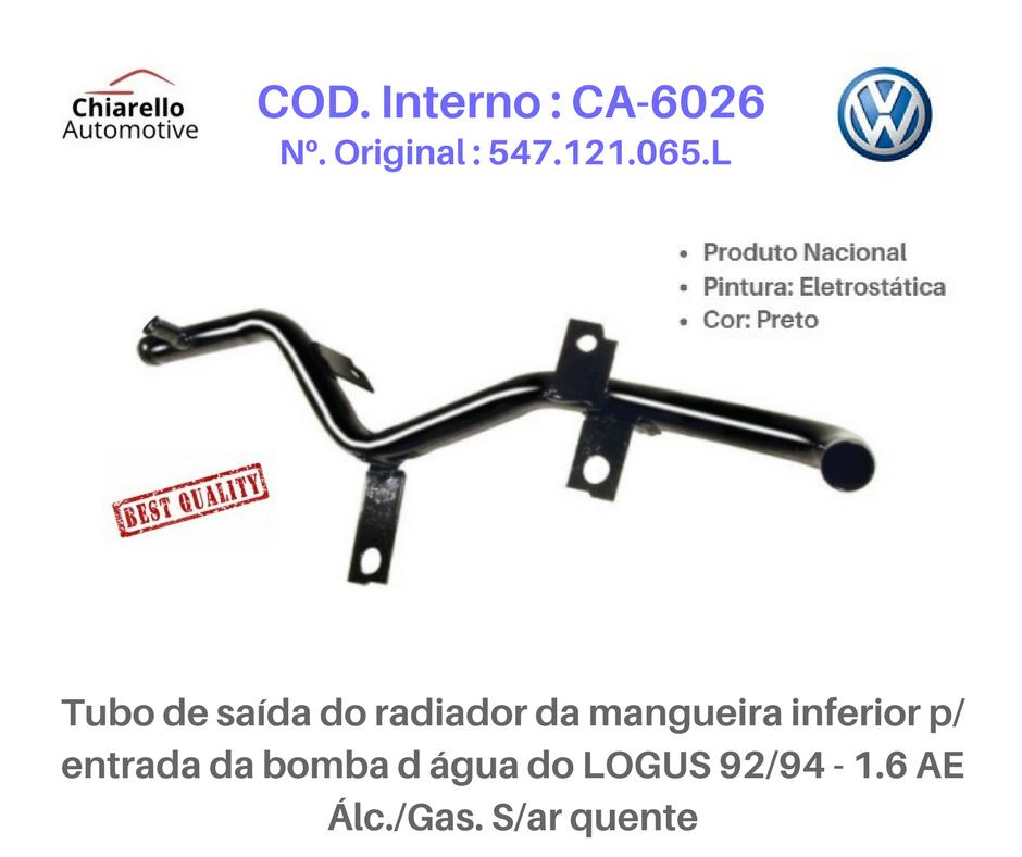 Tubo da água motor AP - LOGUS / POINTER 1.6/1.8 CFI Álc./Gas. C/ar quente e com Injeção  - Chiarello Automotive