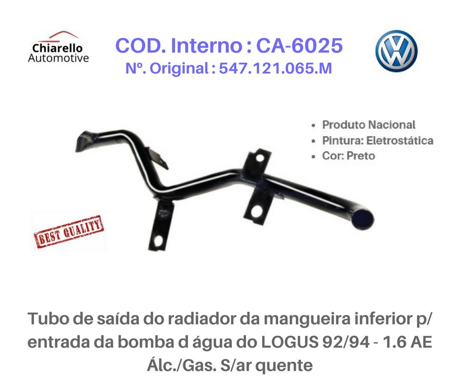 Tubo da água motor AP LOGUS / POINTER 1.6/1.8 CFI Alc./Gas. S/Ar Quente e Injeção  - Chiarello Automotive